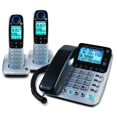 GE DECT 6.0 Triple-Handset Corded/Cordless Telephone with Digital Answering System (GE-30524EE3)