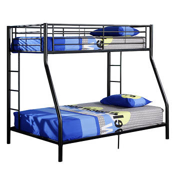 W. Trends Sunset Twin/Full-Size Metal Bunk Bed - Black
