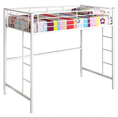 W. Trends Sunrise Twin-Size Loft Metal Bunk Bed - White