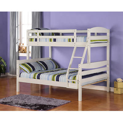 W. Trends Twin/Full-Size Solid Wood Bunk Bed - White