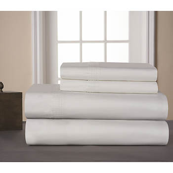 Pointehaven Pima Cotton 610-Thread-Count Queen-Size Sheet Set - White