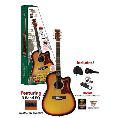 "Spectrum 41"" Thin Body Travel Acoustic/Electric Guitar with 3 Band Equalizer, Built-In Tuner and Bonus Pack"