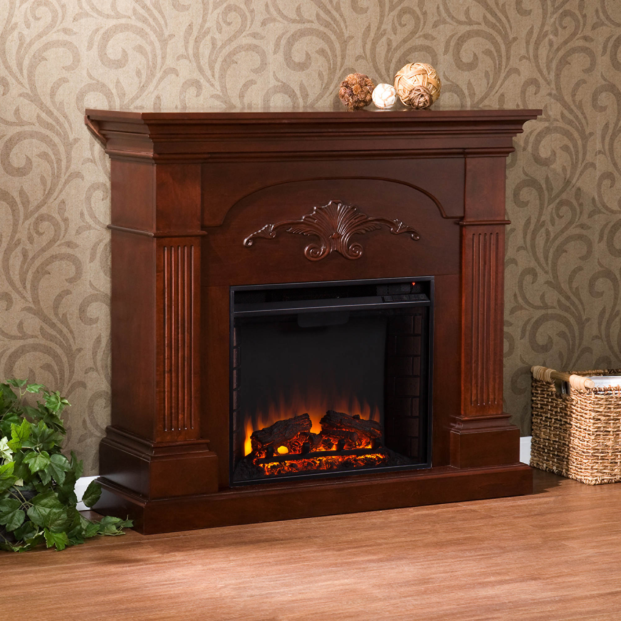 Fireplace tv stand electric fireplaces in arizona electric fireplace - Sei Florentine Electric Fireplace Mahogany