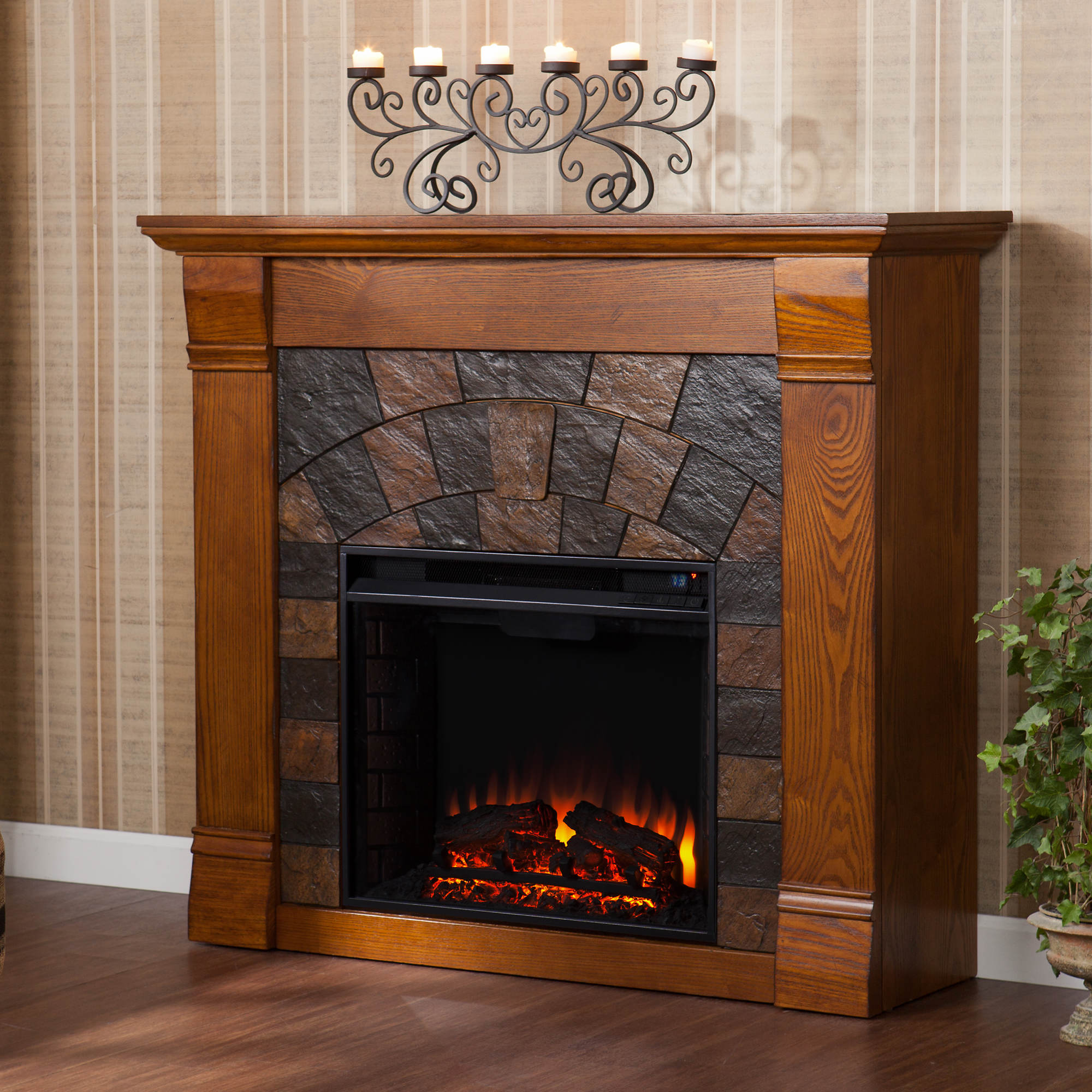 Fireplace tv stand electric fireplaces in arizona electric fireplace - Sei Winter Haven Electric Fireplace Salem Antique Oak