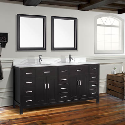 Studio Bathe Kelly 75 Double-Sink Bathroom Vanity with Carrera Marble Countertop and 2 Mirrors - Espresso