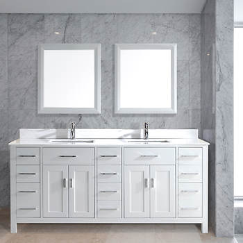 Studio Bathe Kelly 75 Double-Sink Bathroom Vanity with Carrera Marble Countertop and 2 Mirrors - White