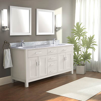 Studio Bathe Kelly 63 Double-Sink Bathroom Vanity with Carrera Marble Countertop and 2 Mirrors - White