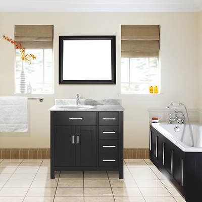 Studio Bathe Kelly 36 Bathroom Vanity with Carrera Marble Countertop and Mirror - Espresso