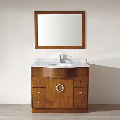 Studio Bathe Zoey 42 Bathroom Vanity with Carrera Marble Countertop and Mirror - Cherry