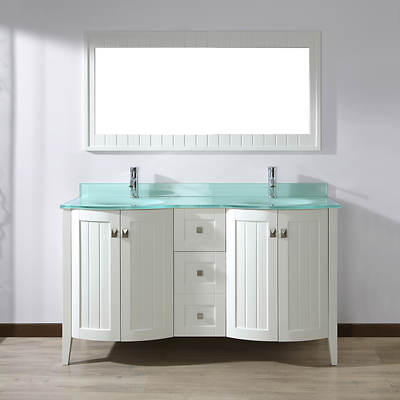 Studio Bathe Newport 60 Double-Sink Bathroom Vanity with Molded Glass Countertop and Mirror - White