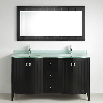 Studio Bathe Newport 60 Double-Sink Bathroom Vanity with Molded Glass ...