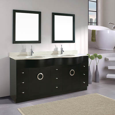 Studio Bathe Zoey 72 Double-Sink Bathroom Vanity with Nougat Quartz Countertop and 2 Mirrors - Espresso