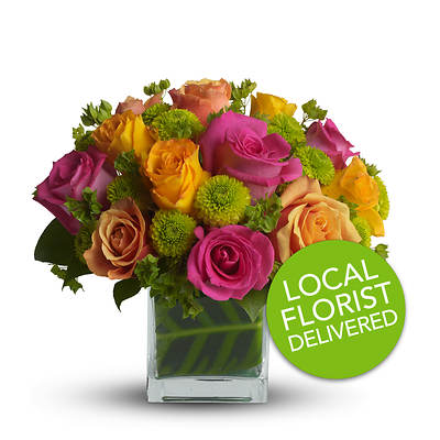 Teleflora's Next-Day Delivery Color Me Rosy Rose & Chrysanthemum Bouquet with Clear Vase