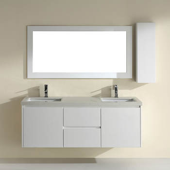 Studio Bathe Brios 63 Double-Sink Bathroom Vanity with Nougat Quartz Countertop and Mirror - White