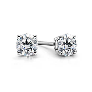 .50 ct. t.w. Diamond Round-Cut Stud Earrings in 14K White Gold