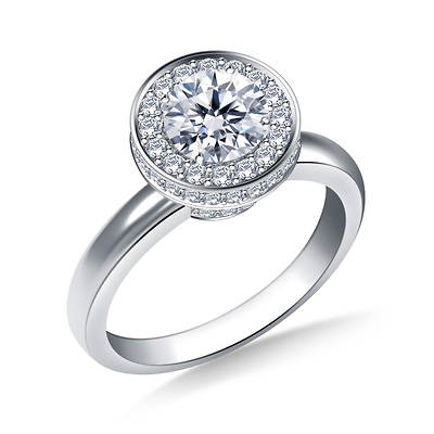 0.75 ct. t.w. Diamond Round-Cut Halo Cirque Engagement Ring in 14K White Gold