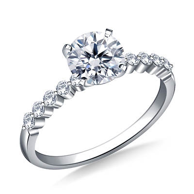 0.50 ct. t.w. Diamond Round-Cut Engagement Ring in 14K White Gold