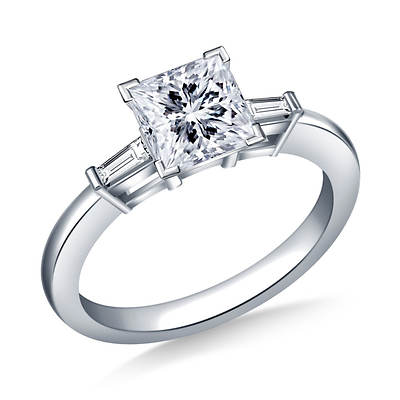 0.50 ct. t.w. Diamond Princess-Cut and Baguette Accent Engagement Ring in 14K White Gold