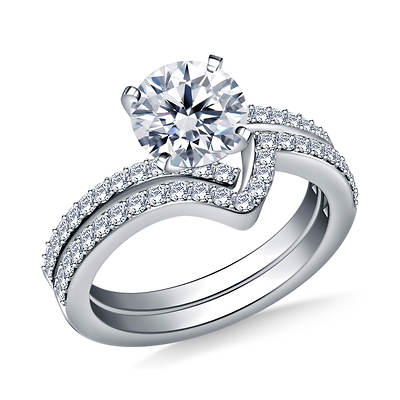 1.00 ct. t.w. Diamond Round-Cut Contemporary Spiral Engagement Ring and Wedding Band Set in 14K White Gold