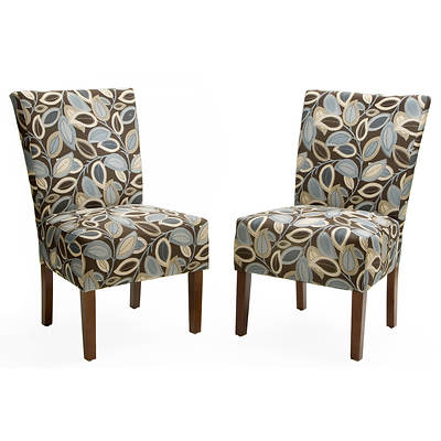 Handy Living Dunley Chair, Set of 2 - Brown Modern Leaf