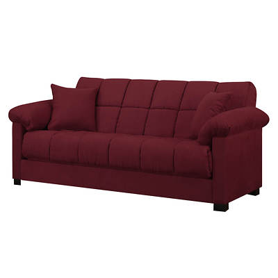 Handy Living Convert-a-Couch Full-Size Sleeper Sofa - Crimson