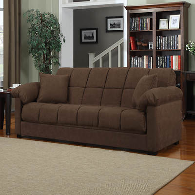 Handy Living Convert-a-Couch Full-Size Sleeper Sofa - Dark Brown