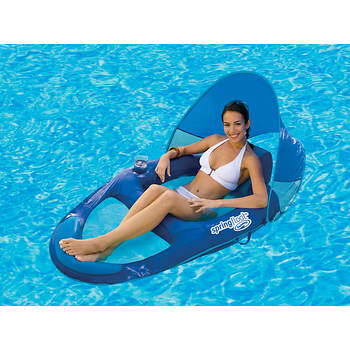 SwimWays Spring Float Recliner with Sunshade Canopy