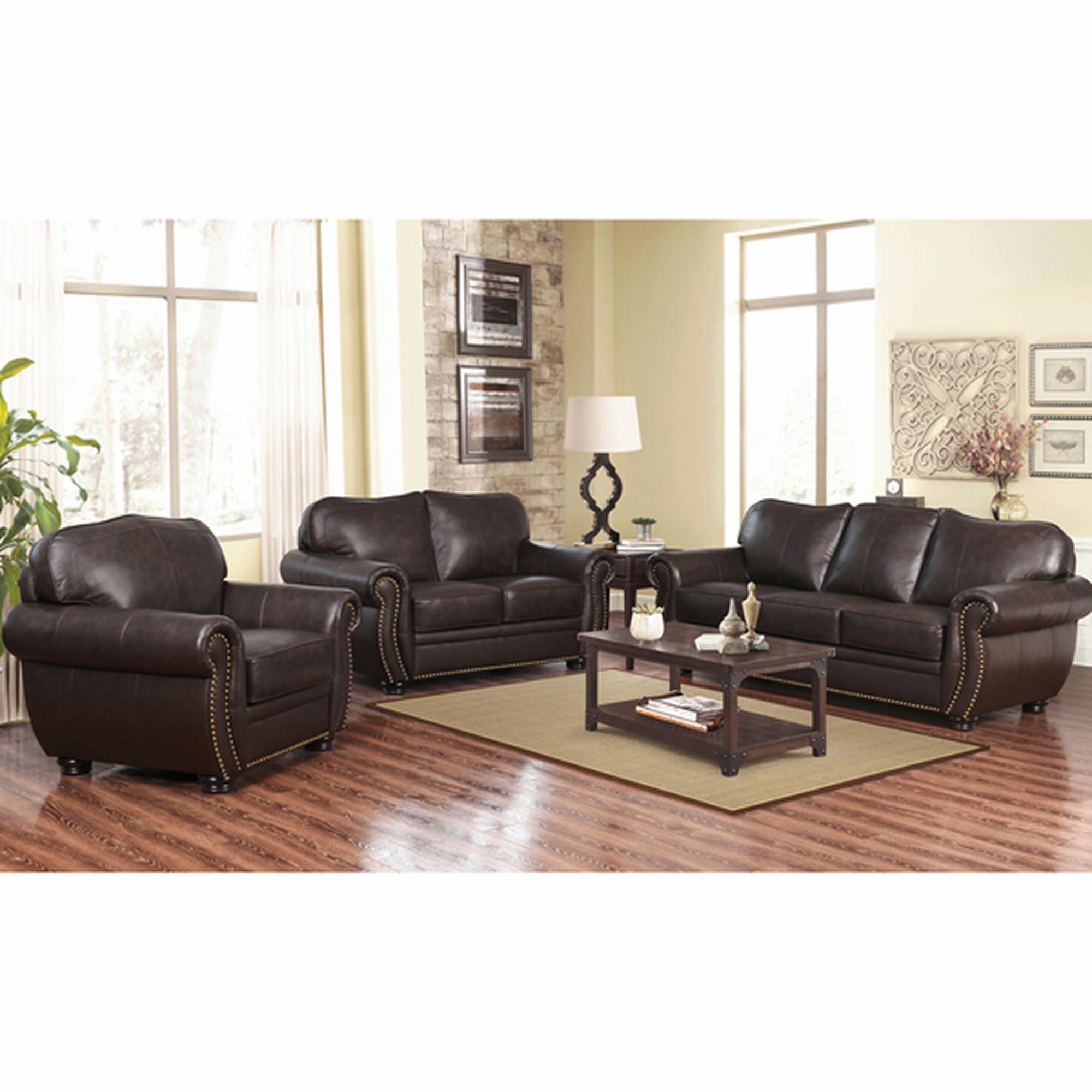 Abbyson living barrington 3 pc top grain leather living for Brown couch set