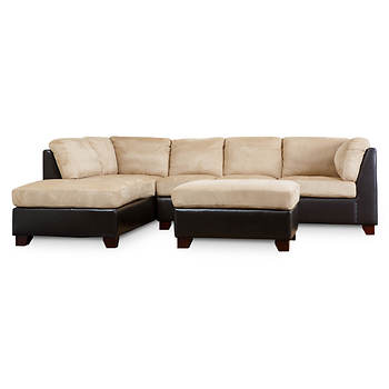 Abbyson Living Chelsea Sectional and Ottoman - Beige/Espresso
