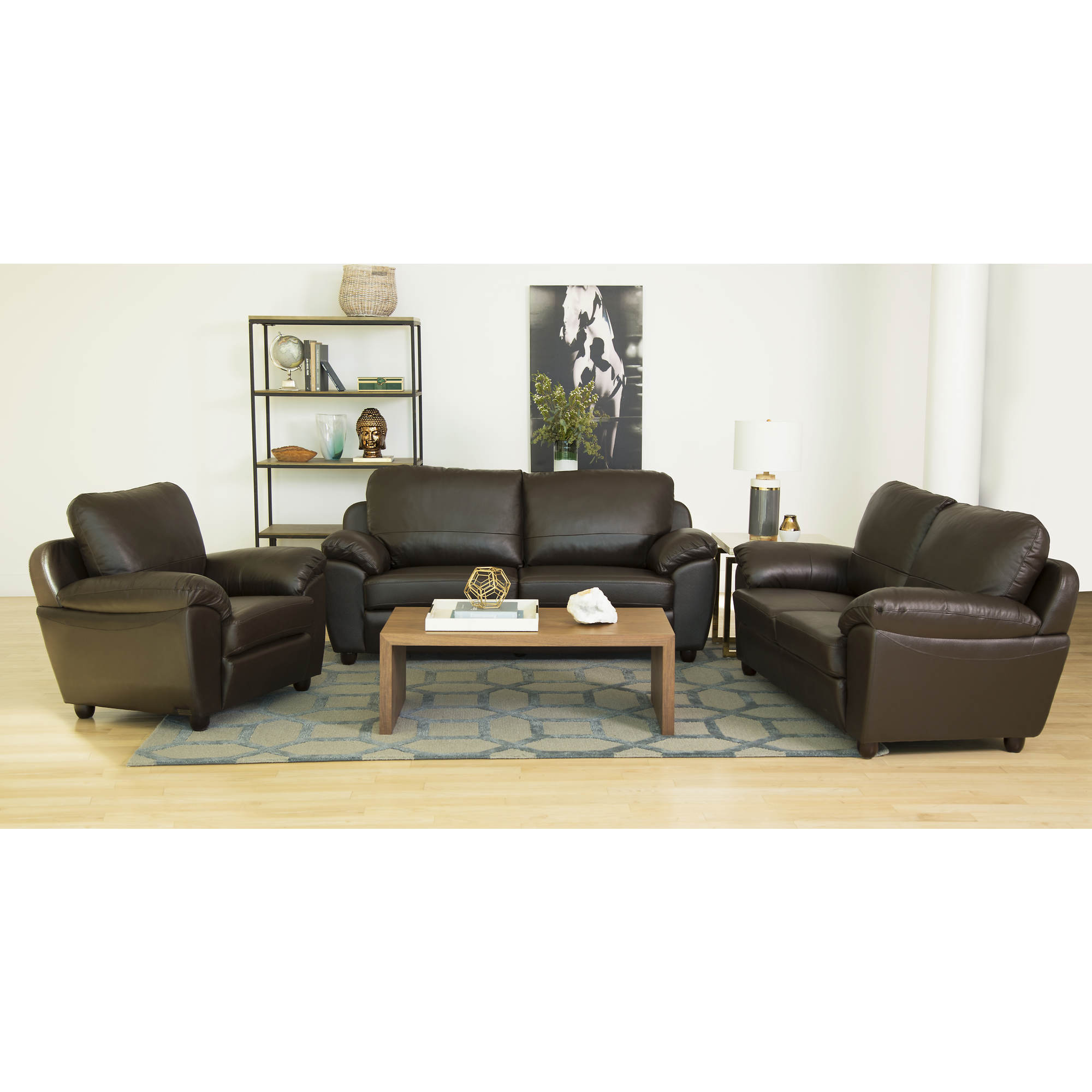 Abbyson living cosmopolitan 3 pc top grain italian for Leather sofa set