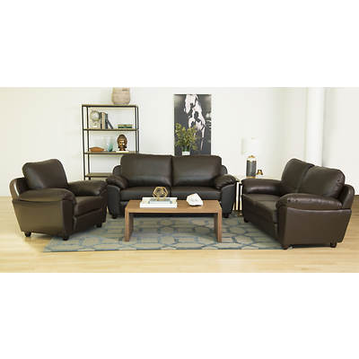 Abbyson Living Cosmopolitan 3-Piece Top-Grain Italian Leather Living Room Set - Dark Brown