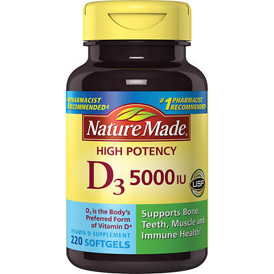 Nature Made Vitamin D3 5,000 IU Softgels, 220 Count