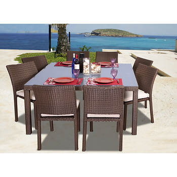 Atlantic Panama 9-pc. Square Dining Set with Bonus FeronGard Vinyl Preservative - Brown/Off-White