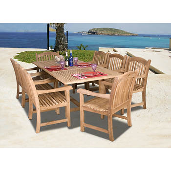 Amazonia Madison 9-Pc. Teak Dining Set with Bonus Feron's Wood Sealer/Preservative