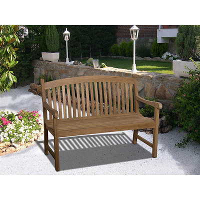 Amazonia Madison 4' Teak Bench with Bonus Feron's Wood Sealer/Preservative