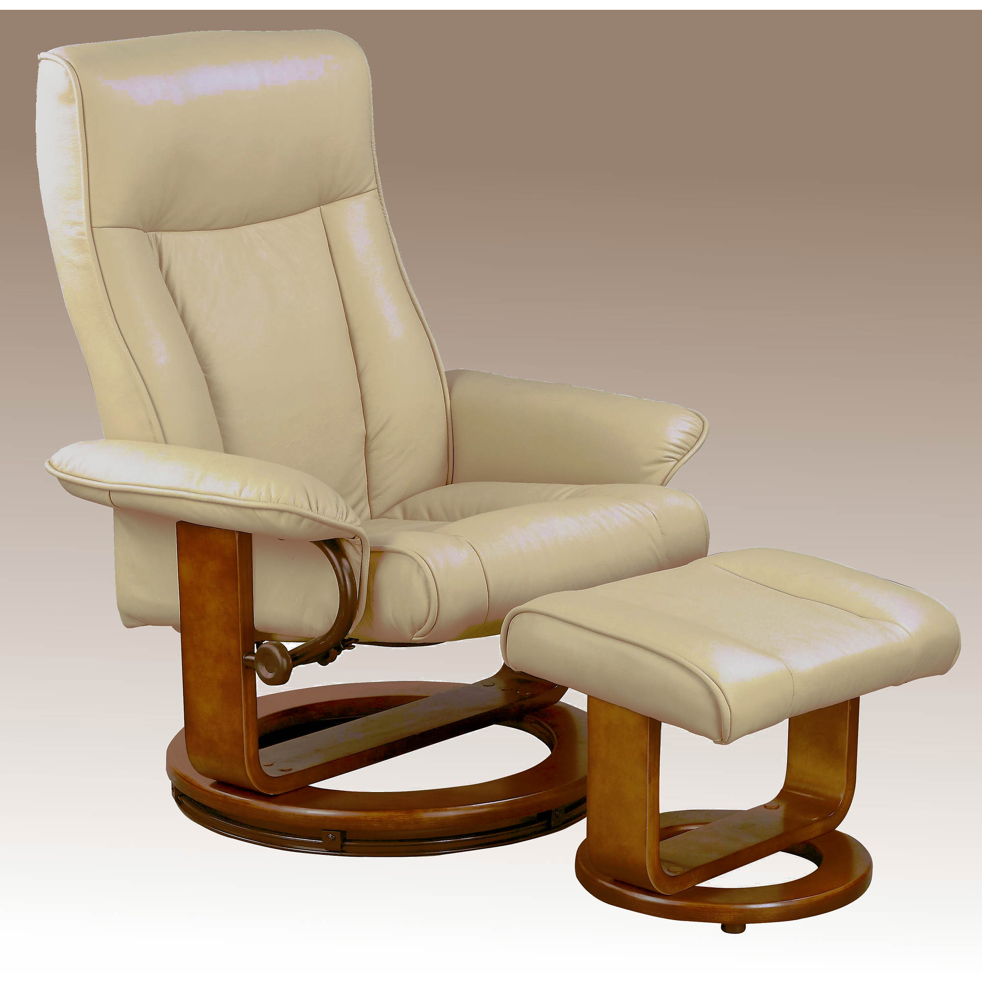 comfort chair collection bonded leather swivel recliner with ottoman
