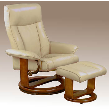 Comfort Chair Collection Bonded Leather Swivel Recliner with Ottoman - Cobblestone/Walnut