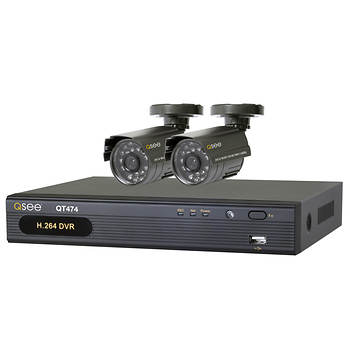Q-See 4-Channel H.264 DVR with 500GB Hard Drive and 2 Color Cameras