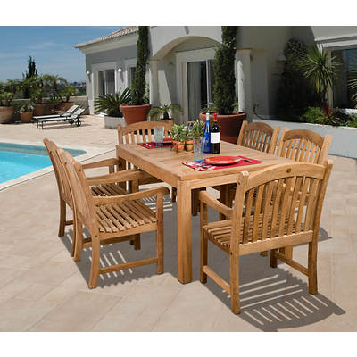 Amazonia Turin 7-Piece Teak Dining Set with Bonus Feron's Wood Sealer/Preservative
