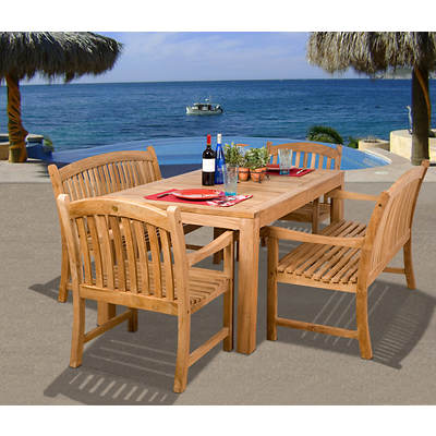 Amazonia Celtic 5-Piece Teak Dining Set with Bonus Feron's Wood Sealer/Preservative