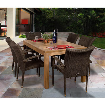 Amazonia Novara 7-Piece Teak Dining Set with Bonus Feron's Wood Sealer/Preservative