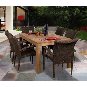 Amazonia Novara 7-Pc. Teak Dining Set with Bonus Feron's Wood Sealer/Preservative