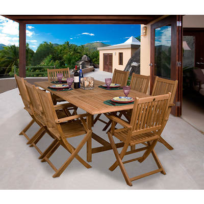 Amazonia Cesena 9-Piece Teak Dining Set with Bonus Feron's Wood Sealer/Preservative
