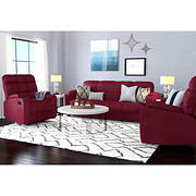 Handy Living 3-Pc. Storage Convert-a-Couch and Recliner Set - Red