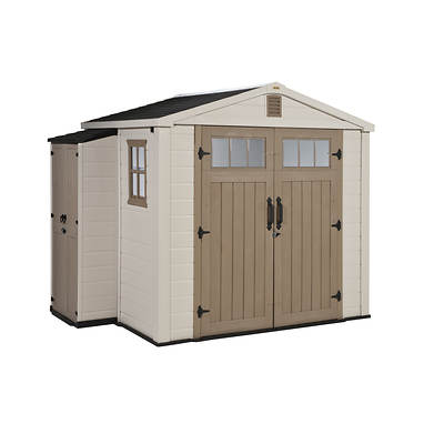 Keter Infinity 8' x 6' Storage Shed with Side Cabinet