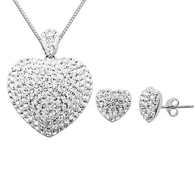 Lauren Taylor 6.35 ct. t.w. White Swarovski Crystal Elements Heart-Shaped Jewelry Set in Sterling Silver