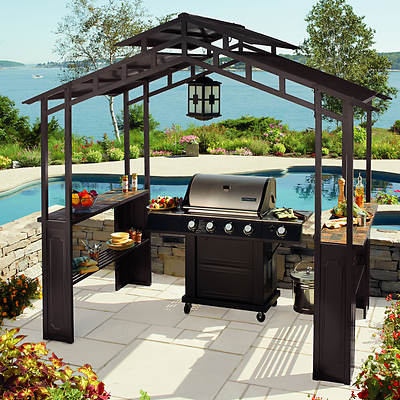 Living Home Outdoors Aluminum Hardtop Grill Gazebo with LED Chandelier