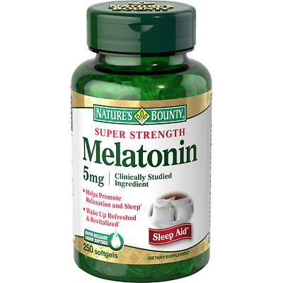 Nature's Bounty Super Strength Melatonin 5mg Softgels, 250 Count