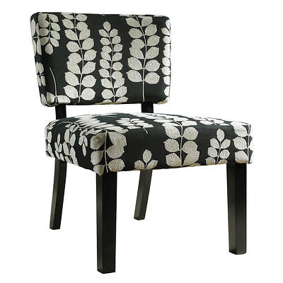 Powell Accent Chair - Black and Cream Leaf/Dark Brown