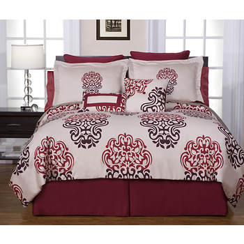 Pointehaven Cherry Blossom King-Size 12-Piece Bedding Ensemble - Red/Burgundy/Ivory